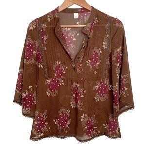 Old navy floral print peasant blouse